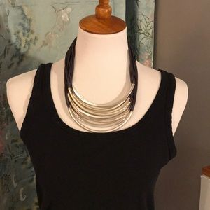 Leather and Metal Statement Necklace